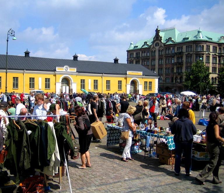 Visit popular Drottningtorget flea market