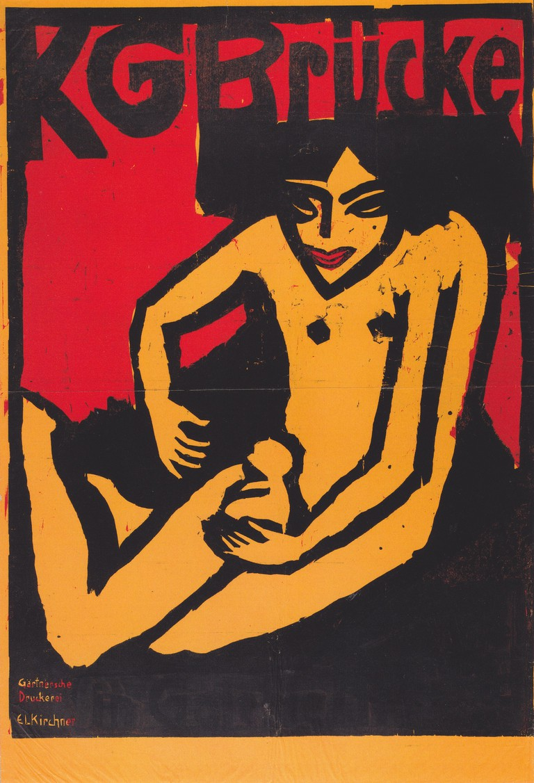 Ernst Ludwig Kirchner, founding member of Die Brücke art group, from an exhibition poster in Dresden's Galerie Arnold