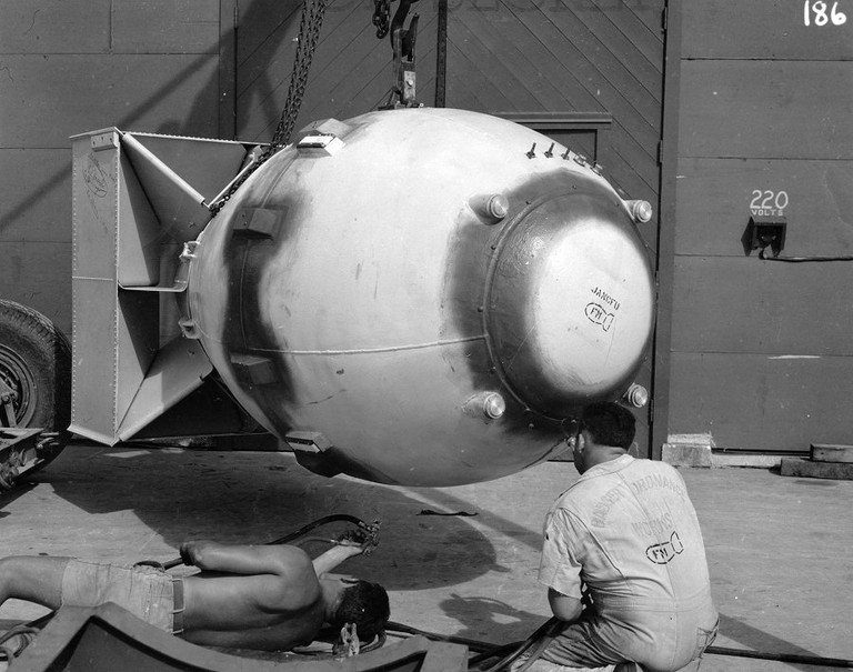 Fat Man bomb is readied on Tinian