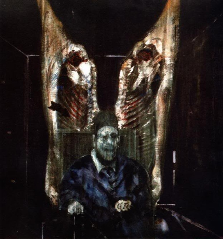 Francis Bacon, Figure with Meat (1954) | WikiCommons
