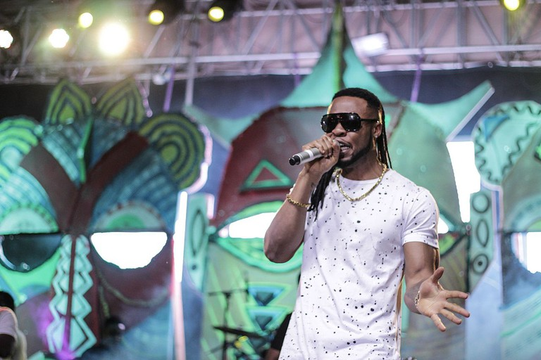 Nigerian musician, Flavour, performing in Nairobi