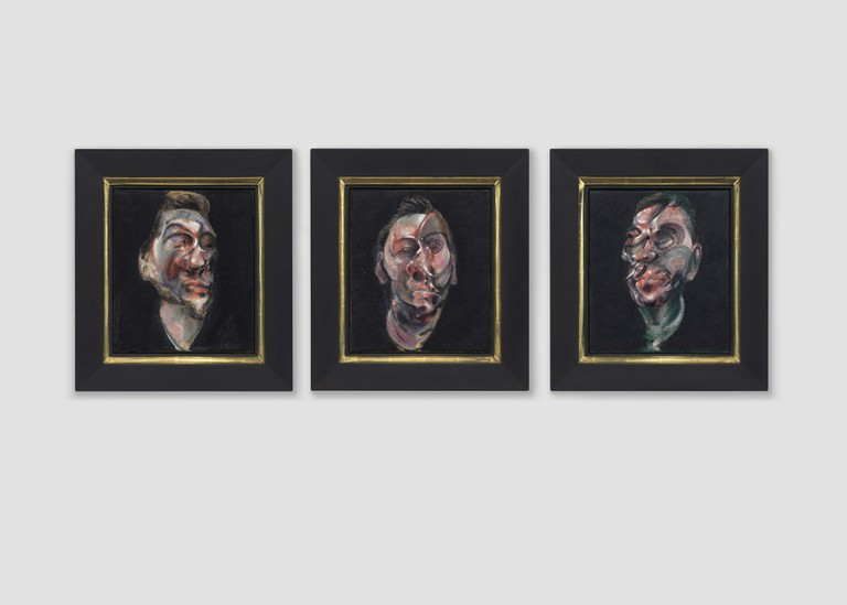 Francis Bacon (1909-1992) Three Studies for a Portrait of George Dyer oil on canvas – Triptych each: 14 x 12 in. Painted in 1963. Estimate: $50,000,000-70,000,000 Price Realized: $51,767,500 / £40,067,724 / €46,518,628