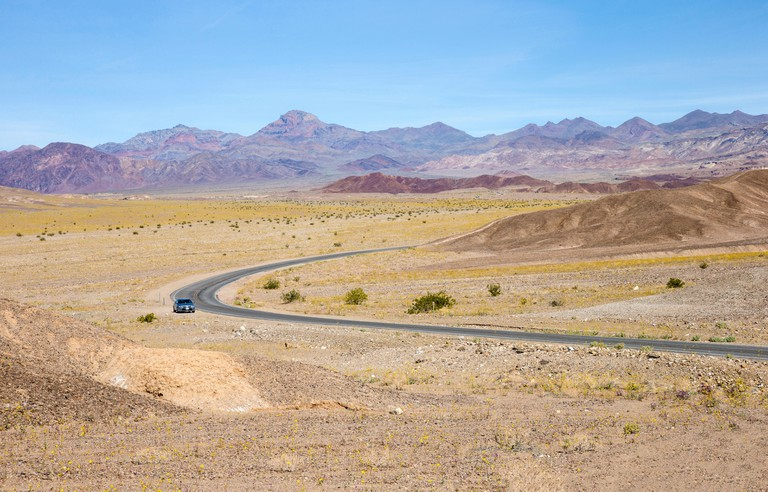 view of Badwater road in Death Valley National Park.