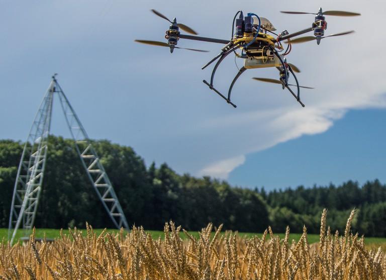 Gamaya's crop analysing drone in action. Photo courtesy of Gamaya
