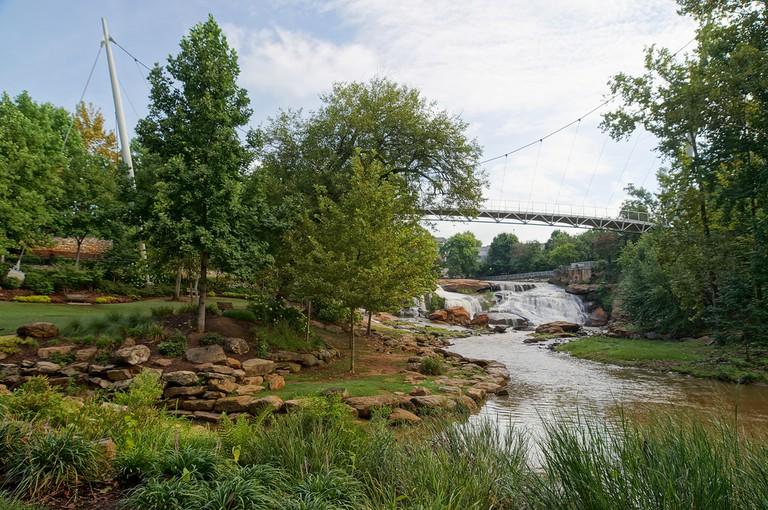 Liberty Bridge at Falls Park on the Reedy River, Greenville, South Carolina