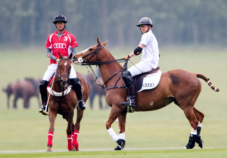 Prince Harry at the Audi Polo Challenge at Coworth, Berkshire, UK