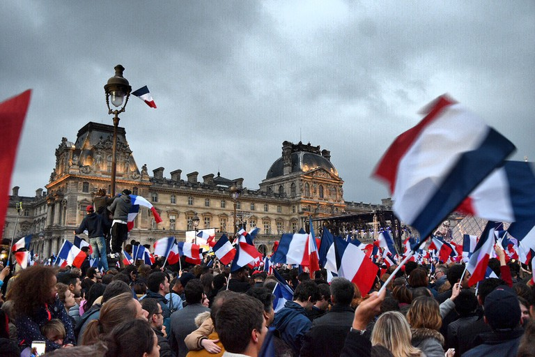 Macron rally at the Louvre