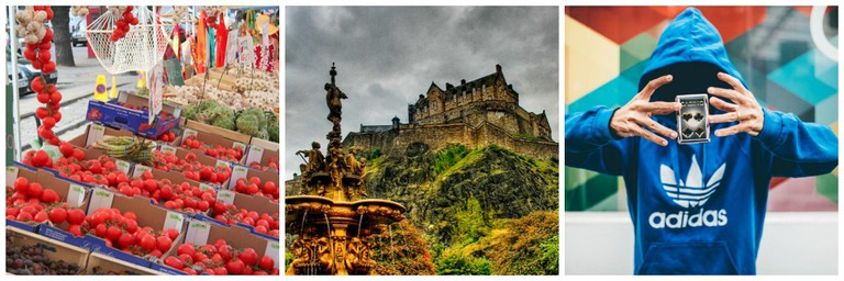 Edinburgh Street Market | © Edinburgh Blog/Flickr // Edinburgh Castle | © Paul Boxley/Flickr // Magician | © Pexels