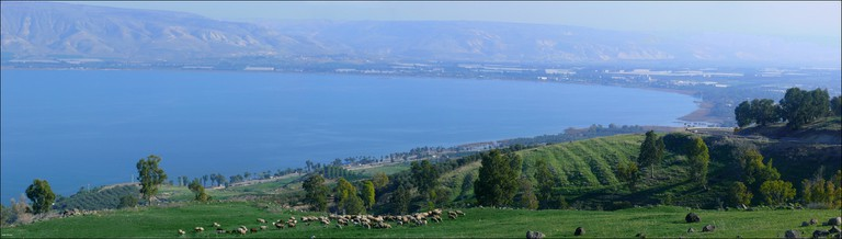 Panoramic view of Lake Kinneret (the Sea of Galilee), Israel