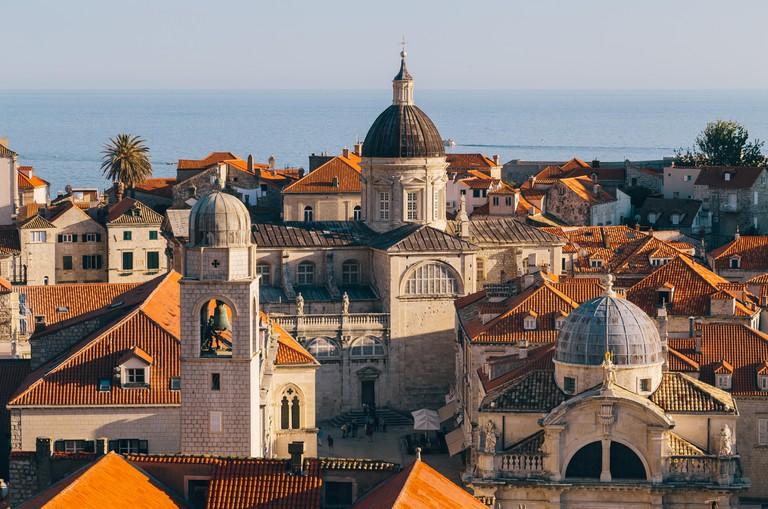 Panoramic view of the historic town of Dubrovnik, Croatia.
