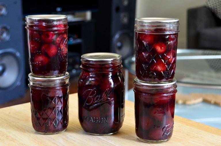 Macerated fruit in jars