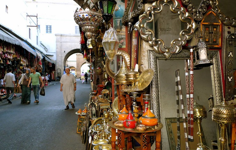 Traditional Moroccan goods for sale in Casablanca's medina