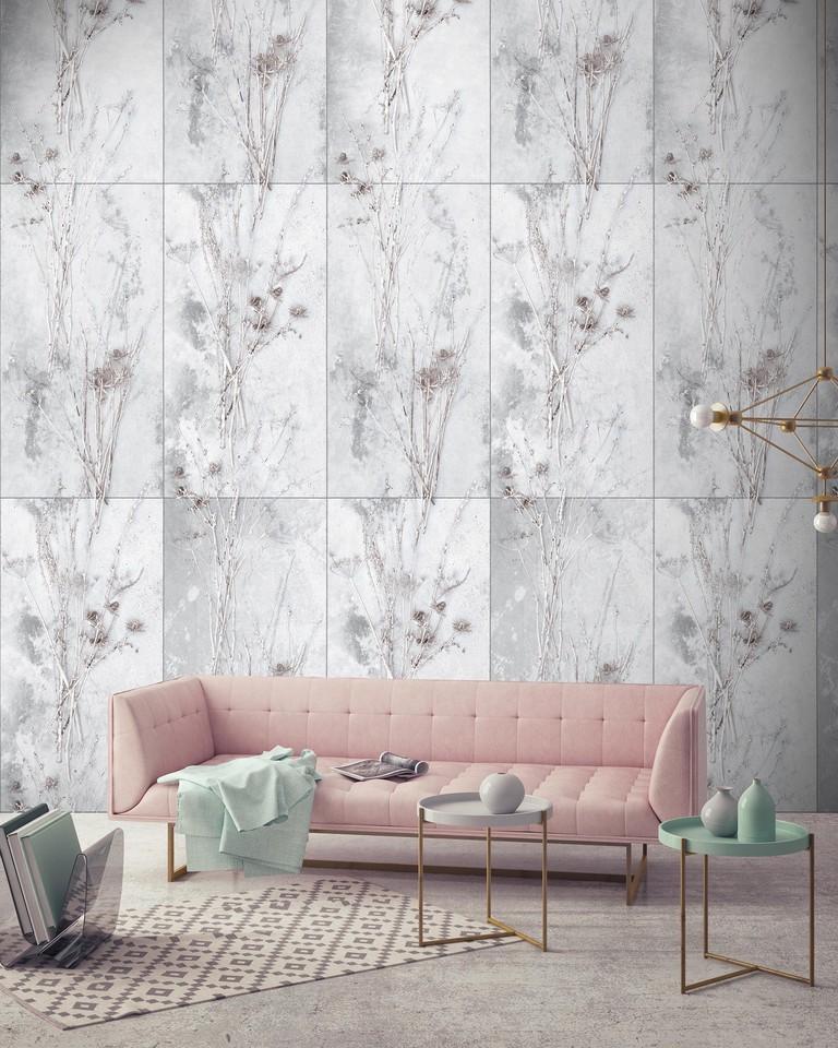 Meraki designer concrete botanical wallpaper