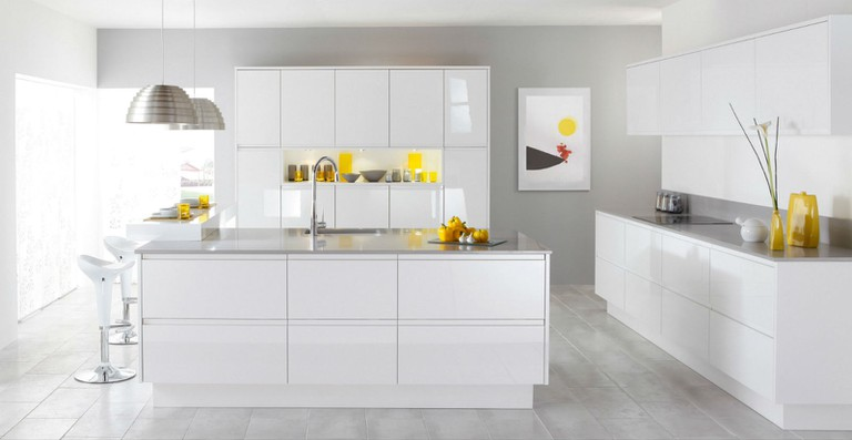 British accents in a pure white kitchen