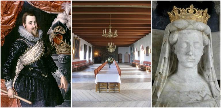 Christian IV, Romerikesalen and Margrete I. Middle image
