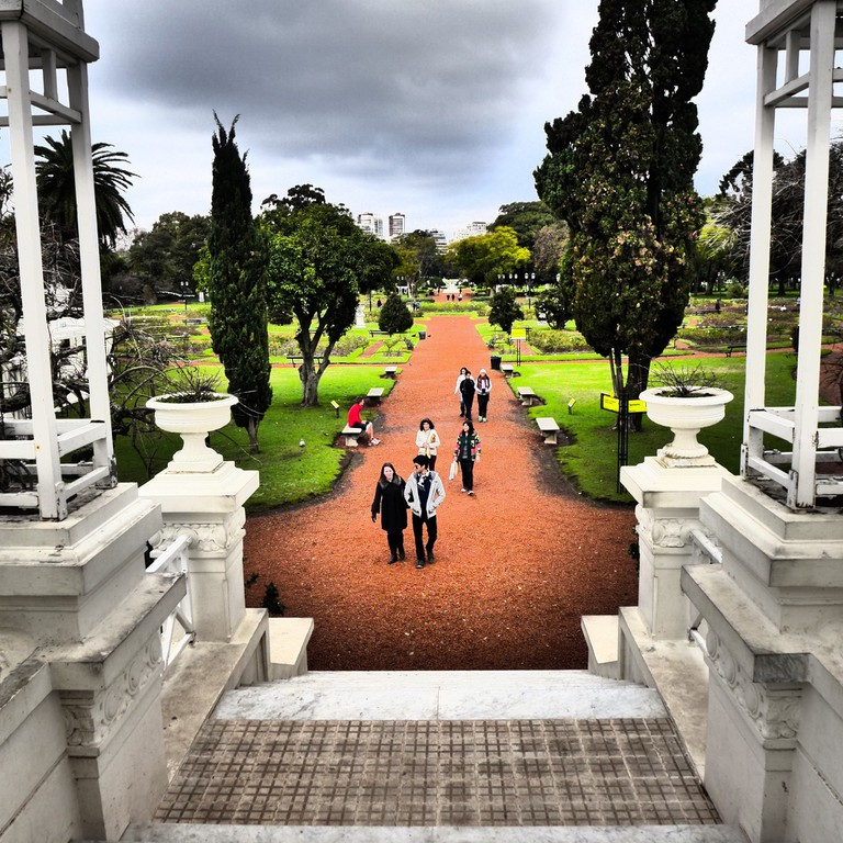 The Greek bridge in Buenos Aires' rose garden, or El Rosendal