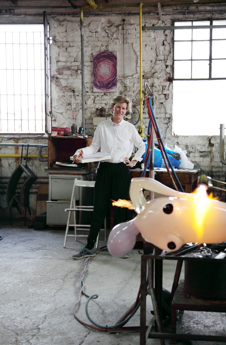 Laure Prouvost in the Berengo Studio furnace, 2017, Photo credit: Oliver Haas
