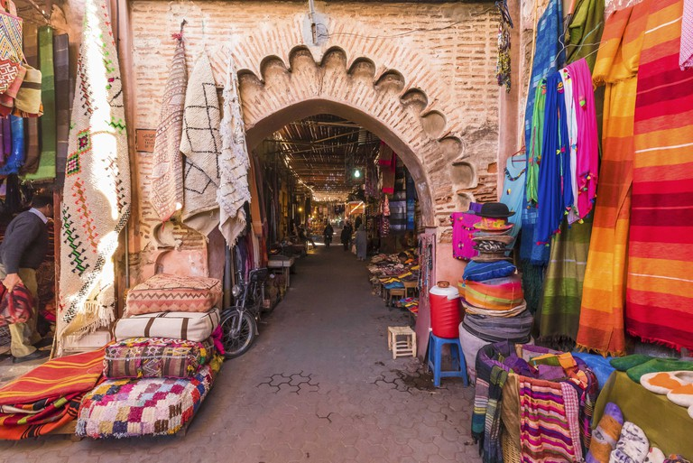 Souvenirs on the Jamaa el Fna market in old Medina, Marrakesh, Morocco.