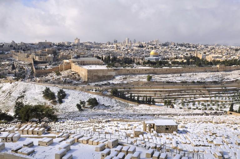 Jerusalem Old City under snow, Israel