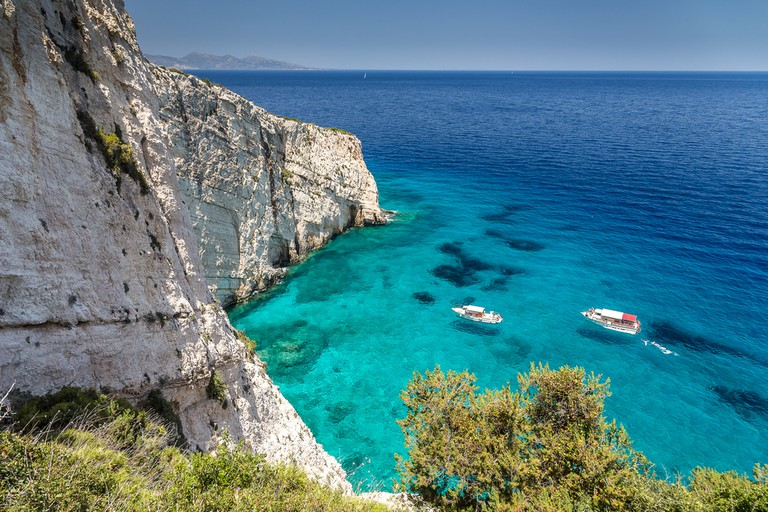 View from Skinari belvedere on Blue Caves. Zakynthos Island