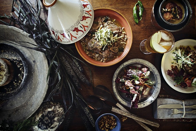 Traditional Moroccan tajine dinner