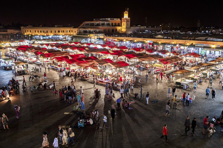 Jemma el Fnaa or Djemma el Fna famous square in Marrakesh, Morocco.