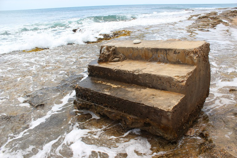 The steps at Steps Beach in Rincon