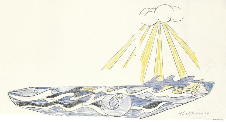 Roy Lichtenstein, 'Young America' mermaid sailboat study (1994).