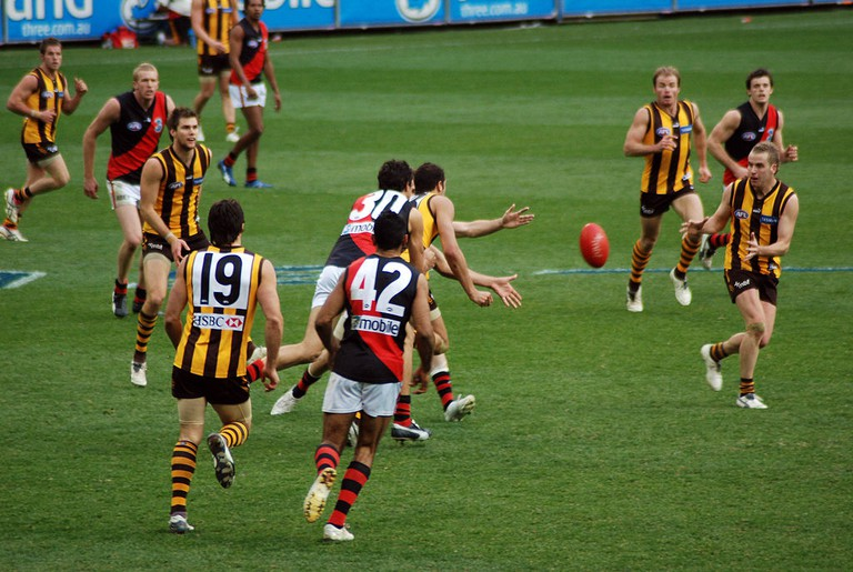 Ball is in dispute in Hawthorn-Essendon AFL match