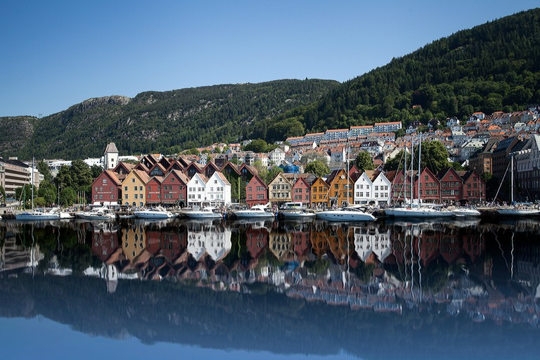 Bryggen and mountains