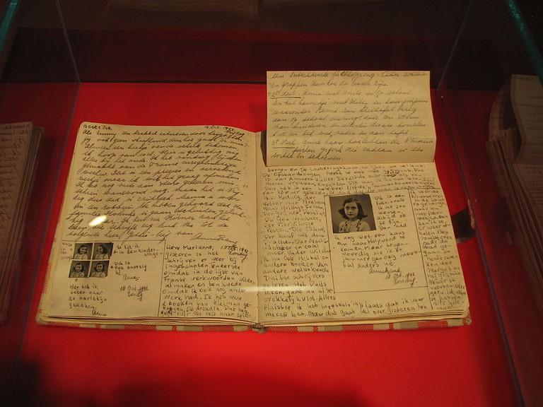 Het Achterhuis' original transcript on display at Anne Frank Huis, Amsterdam