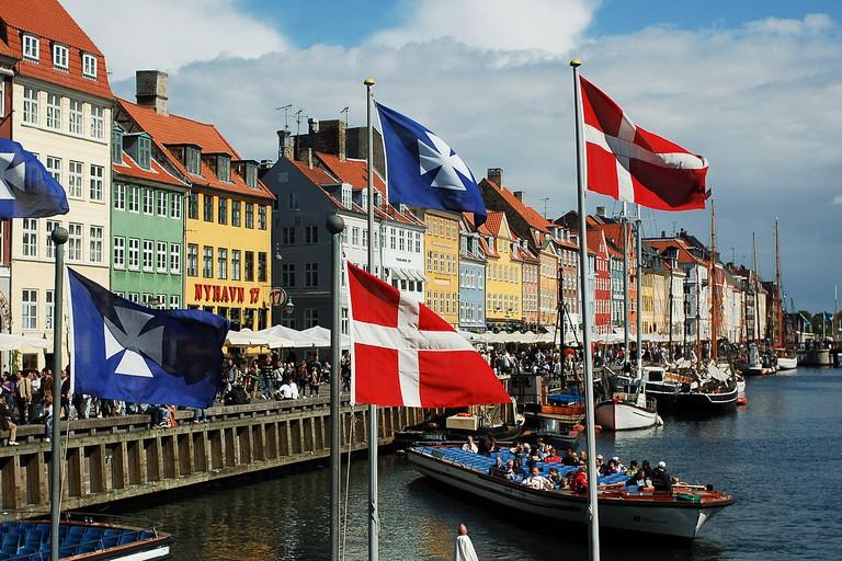 Nyhavn canal as seen from Kongens Nytorv square, Copenhagen, Denmark, Northern Europe