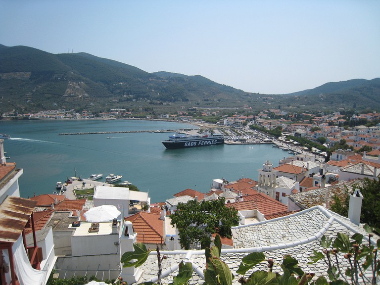 View of Skopelos Town port