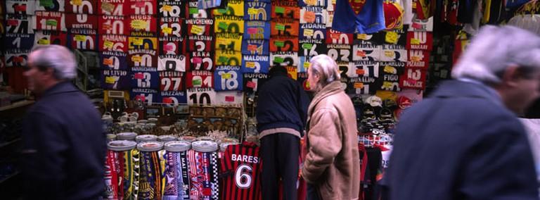 Football jerseys at Rialto market