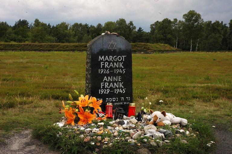 Anne and Margot Frank's tombstone at Bergen-Belsen Memorial Site