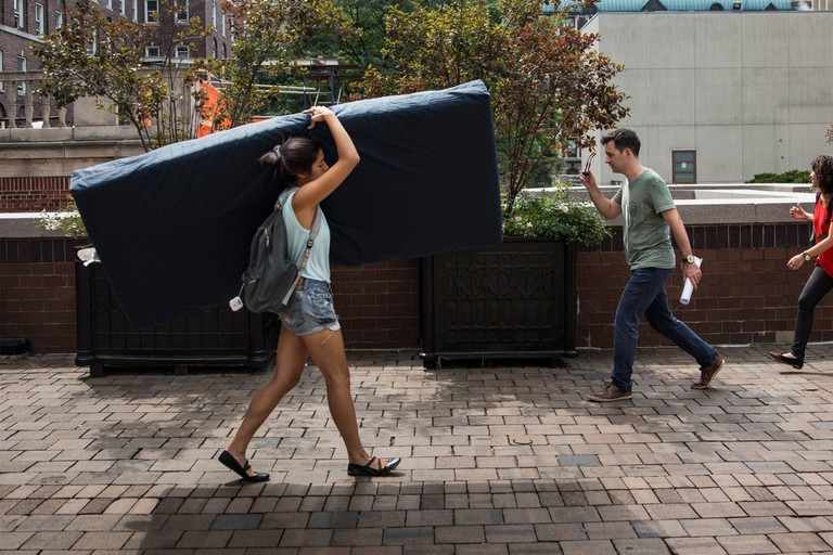 "Emma Sulkowicz, ""Mattress Performance, Carry That Weight,"" (2014–15)"