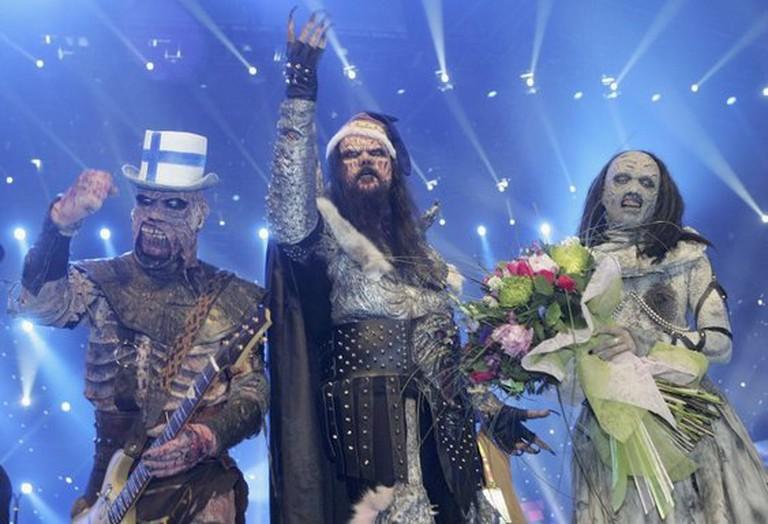 Lordi celebrating their Eurovison win
