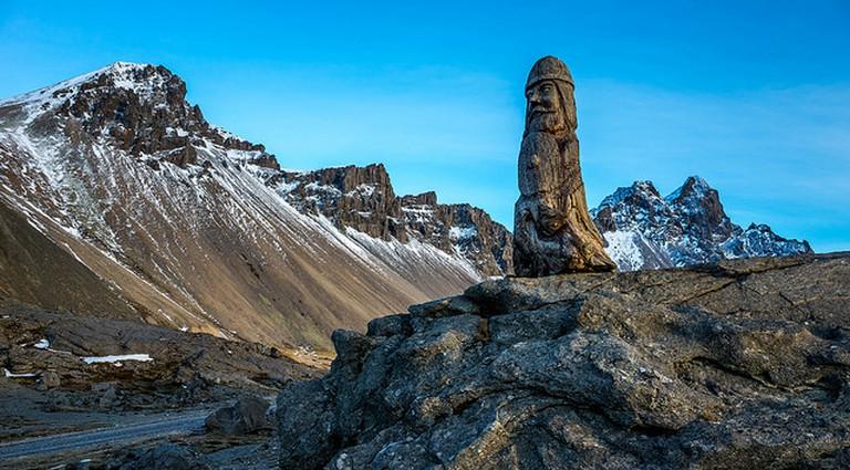 Vesturhorn-Viking wood statue