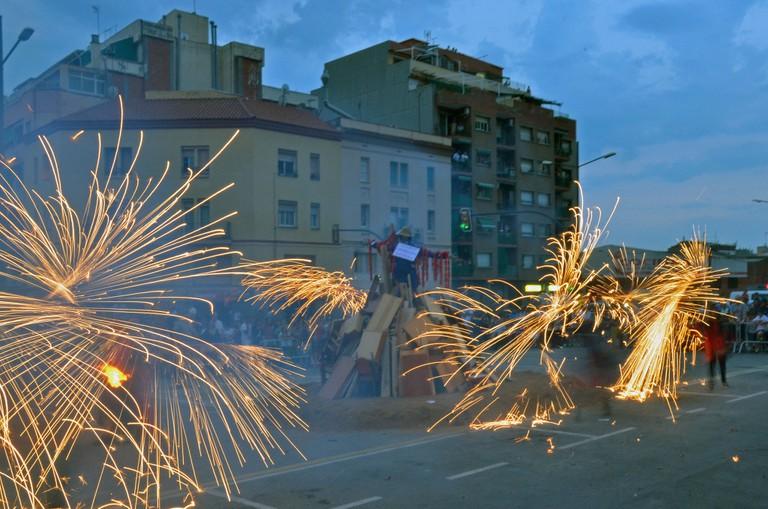 A typical Sant Joan firework display © Pau