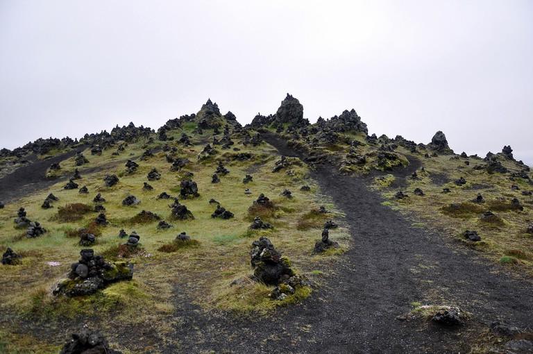 Cairns at the lava ridge of Laufskálavarða