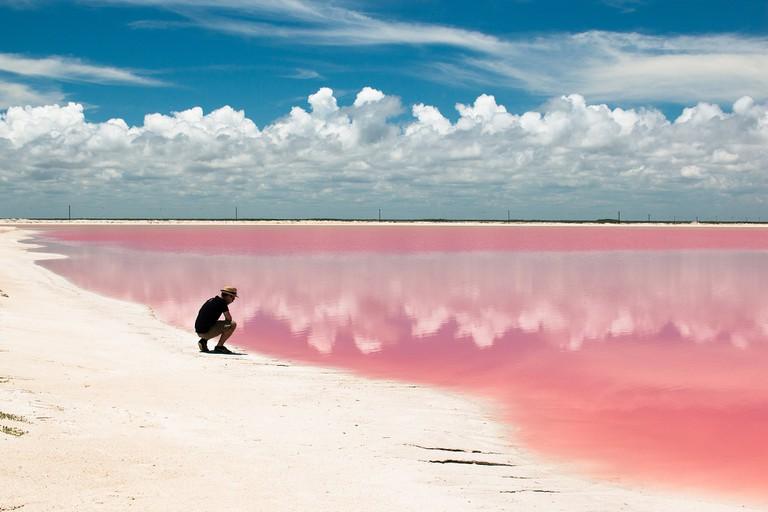 The beautiful pink hued waters of Las Coloradas