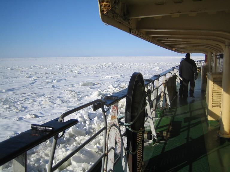 Icebreaker Sampo on the Arctic ice