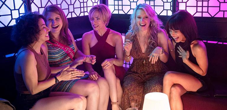 "From left to right: Ilana Glazer, Jillian Bell, Scarlett Johansson, Kate McKinnon, and Zoë Kravitz in ""Rough Night"""