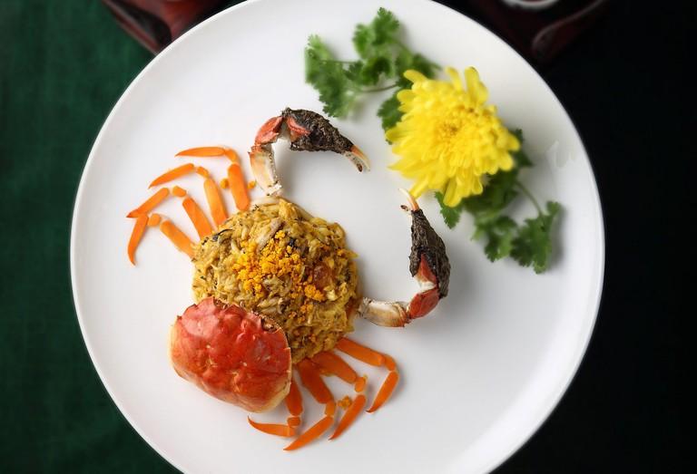 Beautifully prepared Hairy crab