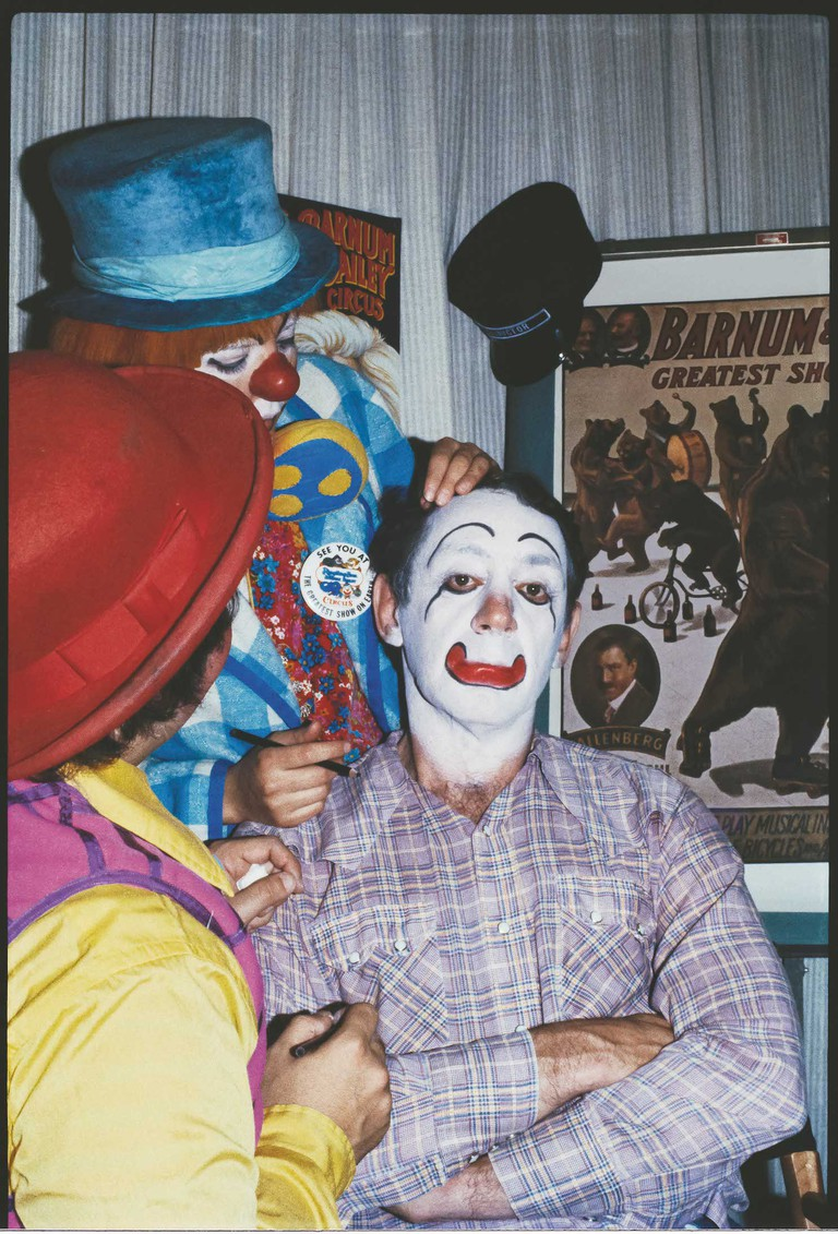 Harvey Milk as Ringling Brothers, Barnum and Bailey Clown for a day, May 21, 1978