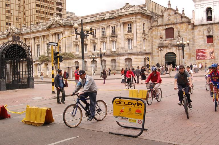 The ciclovia combines a tour of Bogota with a family cycling trip