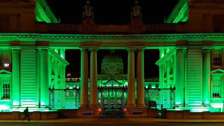 Leinster House lit up green for St Patrick's Day