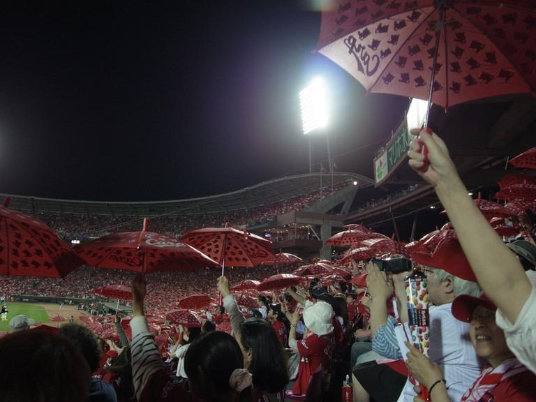 Rally umbrellas at a Japanese baseball game