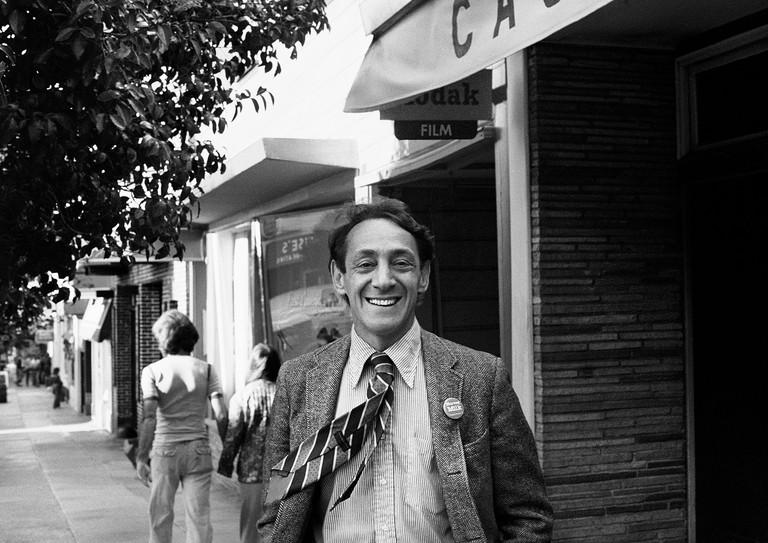Harvey Milk In front of his Castro Street Camera Store, 1977