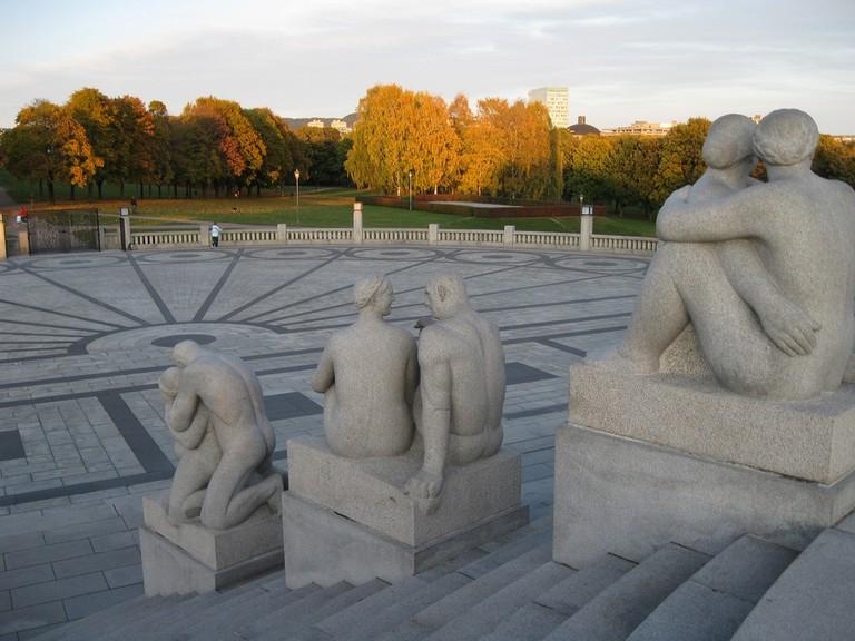 Vigeland statues enjoying an autumn sunset